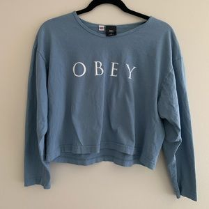 OBEY spellout light blue 100% cotton shirt cropped